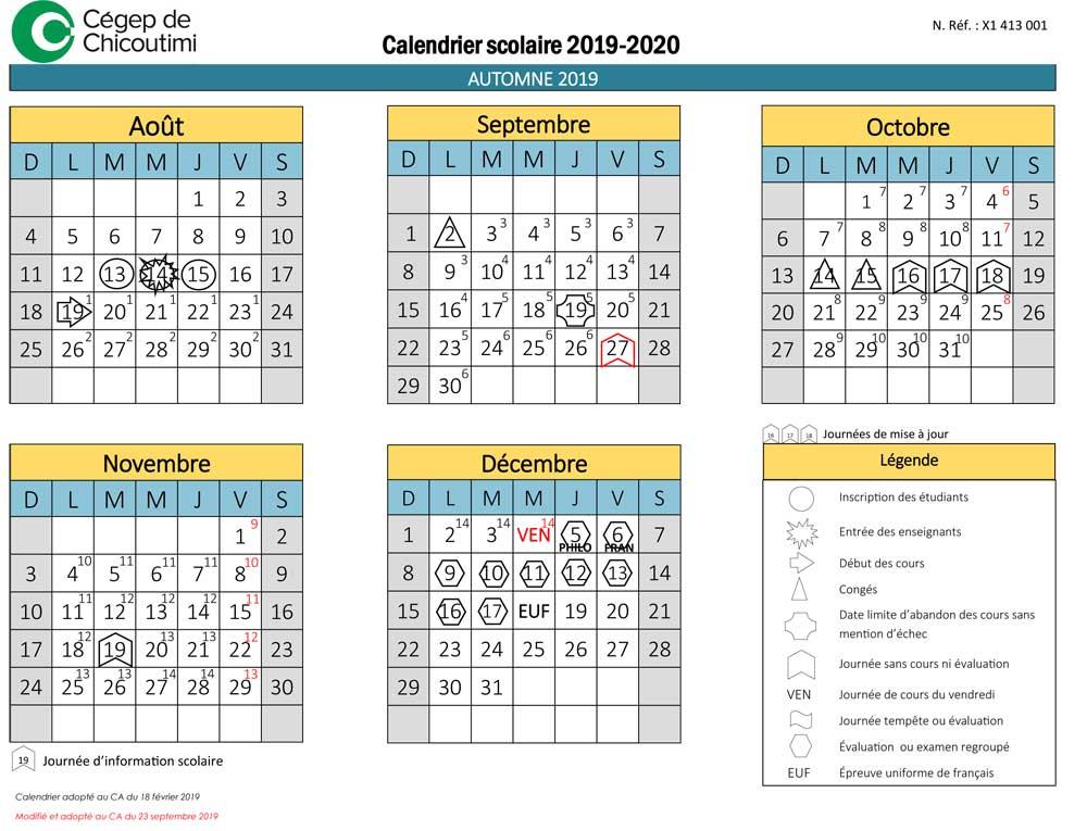 Calendrier Septembre 2020 Aout 2019.Calendrier Scolaire Cegep De Chicoutimi