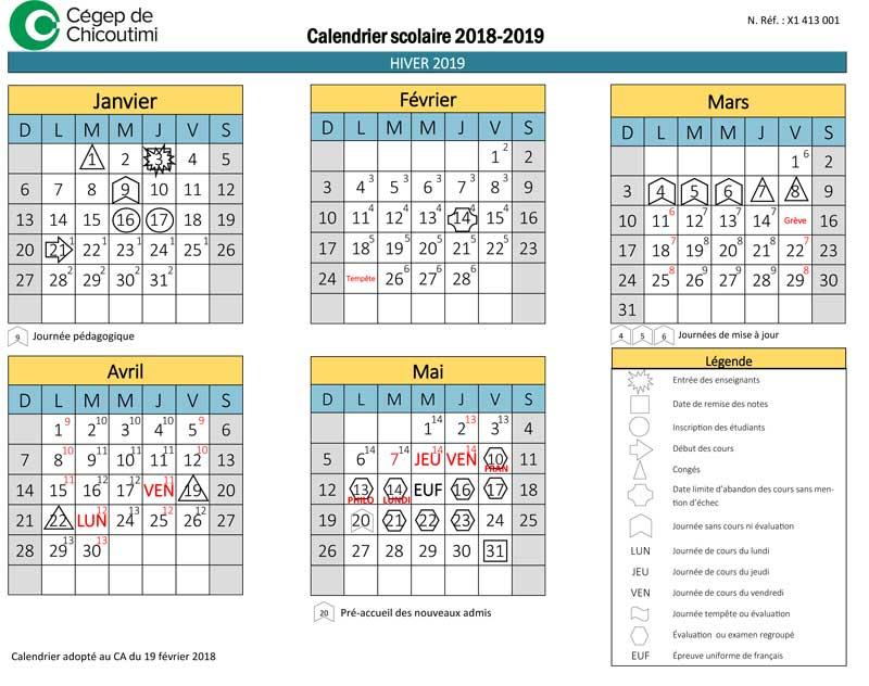 Calendrier scolaire 2018-2019 - Hiver