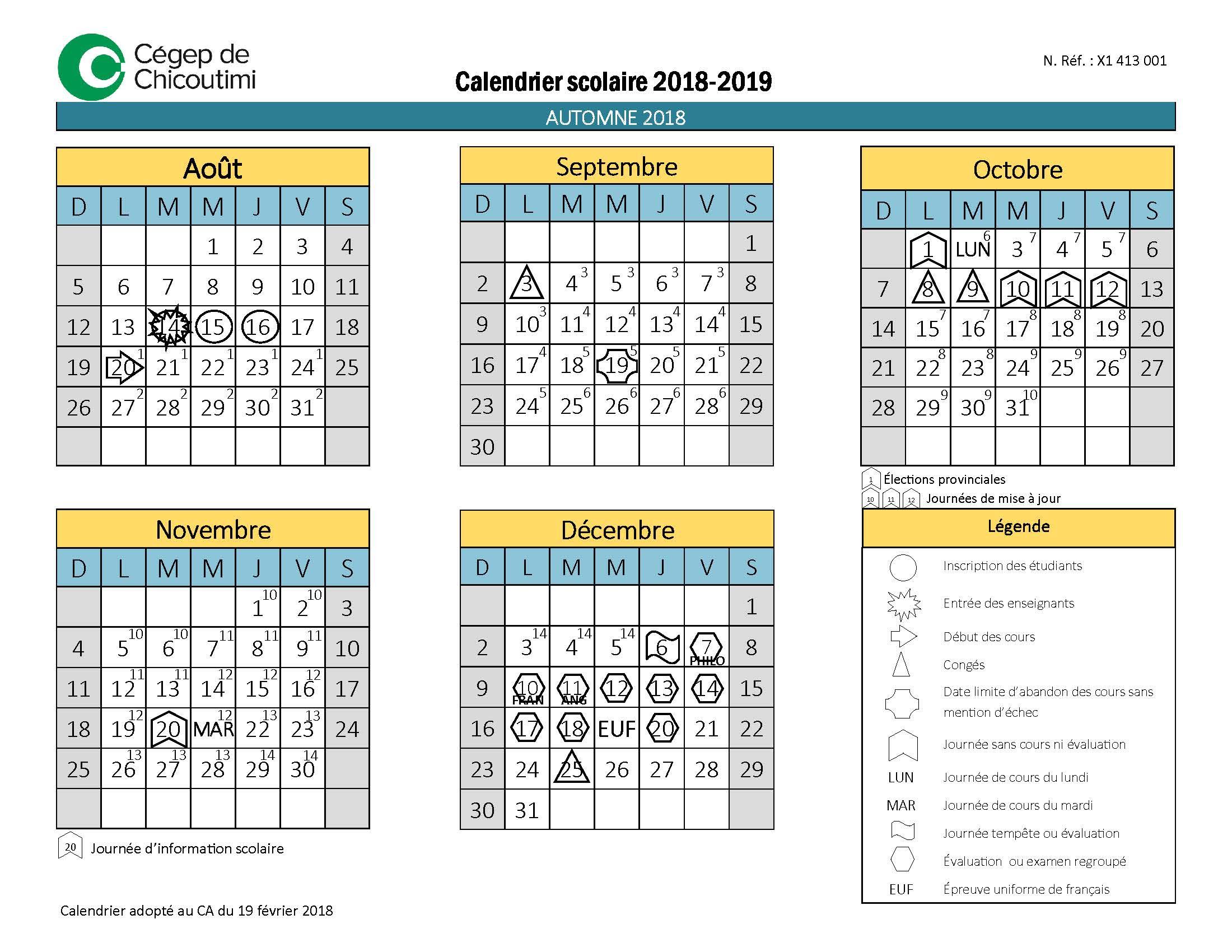 Calendrier scolaire - Cegep de Chicoutimi - 2018-2019_Page_1