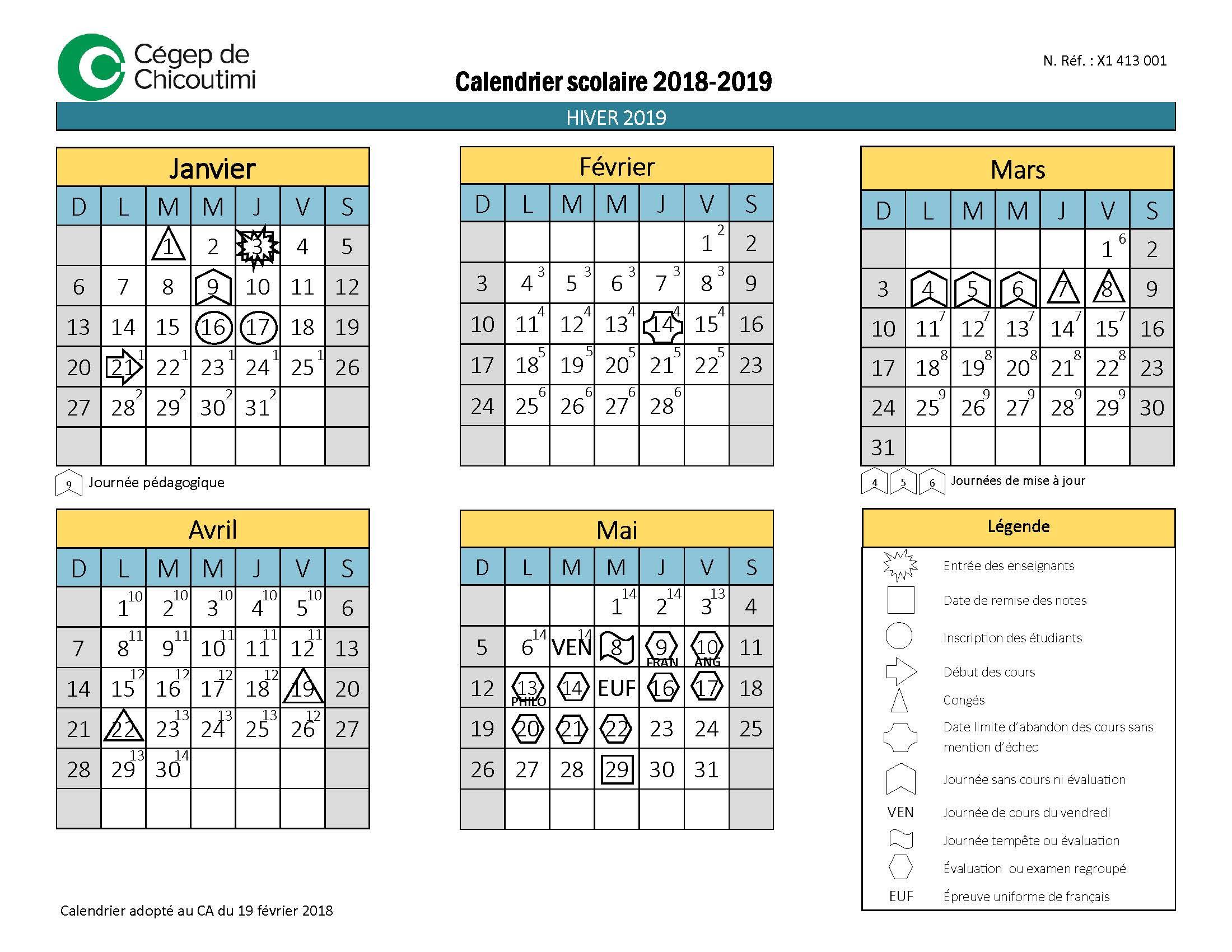 Calendrier scolaire 2018-2019 du Cégep de Chicoutimi - Hiver