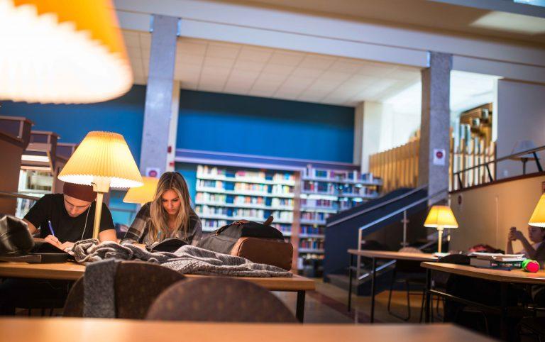 Étudiants travaillant leurs cours dans la bibliothèque du Cégep de Chicoutimi.