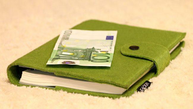 Agenda avec billet de 100 euro