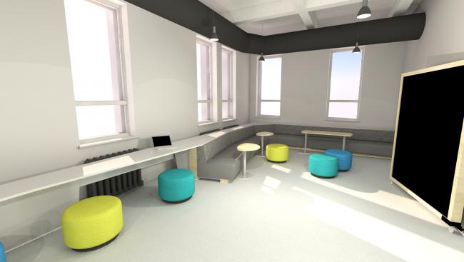 Dessin 3D représentant un espace pour les étudiants, l'aire commune.